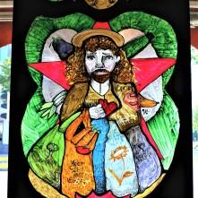 Öko Jesus (2017), Acrylfarbe auf Plexiglas, 78 x 140 cm.