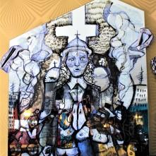 Tourist Attack (2017), Acrylstift auf Spiegelfläche, Preis auf Anfrage.