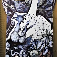 Cock Business (2017), Acrylstift auf Spiegelfläche, Preis auf Anfrage.