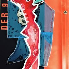 Einfach weiter (2019), Acrylfarbe und Plastikcollage auf Kinoplane, ca. 43 x 80 cm. 615, - € I Ausleihe bzw. Ratenzahlung für 62,-€ pro Monat.