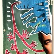 Mittagessen (2019), Acrylfarbe und Plastikcollage auf Kinoplane, ca. 60 x 90 cm. 750, - € I Ausleihe bzw. Ratenzahlung für 75,-€ pro Monat. Bestellung via Mail: verena.kandler@t-online.de