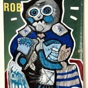 Rob (2019), Acrylfarbe und Plastikcollage auf Kinoplane, ca. 60 x 90 cm. 750, - € I Ausleihe bzw. Ratenzahlung für 75,-€ pro Monat.