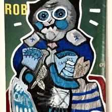 Rob (2019), Acrylfarbe und Plastikcollage auf Kinoplane, ca. 60 x 90 cm. 900, - € I Ausleihe bzw. Ratenzahlung für 90,-€ pro Monat.