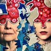 Die Kunst lebt! (2019), Acrylfarbe und Plastikcollage auf Kinobanner, ca. 110 x 200 cm. 1550, - € I Ausleihe bzw. Ratenzahlung für 155,-€ pro Monat. Bestellung via Mail: verena.kandler@t-online.de