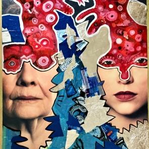 Die Kunst lebt! (2019), Acrylfarbe und Plastikcollage auf Kinobanner, ca. 110 x 200 cm. 1550, - € I Ausleihe bzw. Ratenzahlung für 155,-€ pro Monat.