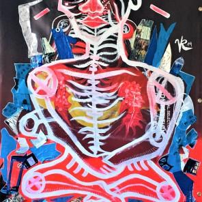 Frustrierter Asket (2019), Acrylfarbe und Plastikcollage auf Kinoplane, 110 x 200 cm. 1550, - € I Ausleihe bzw. Ratenzahlung für 155,-€ pro Monat.