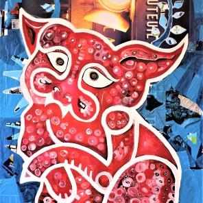 Der (heutige) Künstler (2020), Acrylfarbe und Plastikcollage auf Kinoplane, 110 x 200 cm. 1550, - € I Ausleihe bzw. Ratenzahlung für 155,-€ pro Monat.