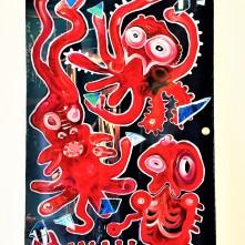 """Art"""" and """"Artists"""" (2019), Acrylfarbe und Plastikcollage auf Kinoplane, ca. 60 x 90 cm. 750, - € I Ausleihe bzw. Ratenzahlung für 75,-€ pro Monat."""