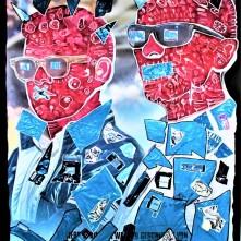 Gegen jede Chance (2020), Acrylfarbe und Plastikcollage auf Kinobanner, ca. 110 x 200 cm. 1550, - € I Ausleihe bzw. Ratenzahlung für 155,-€ pro Monat. Bestellung via Mail: verena.kandler@t-online.de