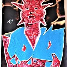 Lady Liberty (2020), Acrylfarbe und Plastikcollage auf Kinobanner, ca. 110 x 200 cm. 1550, - € I Ausleihe bzw. Ratenzahlung für 155,-€ pro Monat. Bestellung via Mail: verena.kandler@t-online.de