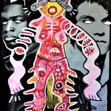 Mutantin (2020), Acrylfarbe und Plastikcollage auf Kinobanner, ca. 110 x 200 cm. 1550, - € I Ausleihe bzw. Ratenzahlung für 155,-€ pro Monat. Bestellung via Mail: verena.kandler@t-online.de