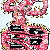 """""""ätzend verbreiten sich Konflikte schnell"""" (2020), Acrylfarbe und Plastikcollage auf Aluminiumplatte, ca. 42 x 60 cm. 510 € I Ausleihe bzw. Ratenzahlung für 51,-€ pro Monat. Bestellung via Mail: verena.kandler@t-online.de"""