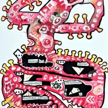 """""""ätzend verbreiten sich Konflikte schnell"""" (2020), Acrylfarbe und Plastikcollage auf Aluminiumplatte, ca. 42 x 60 cm. 612 € I Ausleihe bzw. Ratenzahlung für 61,-€ pro Monat. Bestellung via Mail: verena.kandler@t-online.de"""