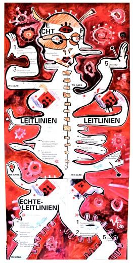 """""""Hängekommission"""" (2020), Acrylfarbe und Collage auf Aluminiumplatten, ca. 85 x 175cm. 1300 € I Ausleihe bzw. Ratenzahlung für 130,-€ pro Monat."""