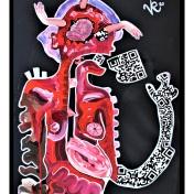 """""""Produkterkennung"""" (2020), Acrylfarbe und Collage auf Plane, ca. 50 x 70 cm. 600 € I Ausleihe bzw. Ratenzahlung für 60,-€ pro Monat. Bestellung via Mail: verena.kandler@t-online.de"""