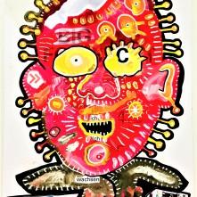 """""""Putzroutine"""" (2020), Acrylfarbe und Plastikcollage auf Aluminiumplatte, ca. 42 x 60 cm. 510 € I Ausleihe bzw. Ratenzahlung für 51,-€ pro Monat. Bestellung via Mail: verena.kandler@t-online.de"""