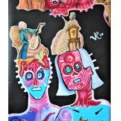 Kopfgesäß (2020), Acrylfarbe auf PVC-Banner, 77 x 181 cm. 1.290, - € I Ausleihe bzw. Ratenzahlung für 129,-€ pro Monat. Bestellung via Mail: verena.kandler@t-online.de