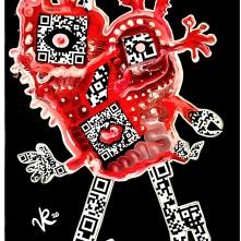 """""""Scan me"""" (2020), Acrylfarbe und Collage auf Plane, ca. 50 x 70 cm. 600 € I Ausleihe bzw. Ratenzahlung für 60,-€ pro Monat. Bestellung via Mail: verena.kandler@t-online.de"""