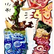 Hundemeute (2020), Acrylfarbe auf PVC-Banner, 84 x 181 cm. 1.325 – € I Ausleihe bzw. Ratenzahlung für 132,-€ pro Monat. Bestellung via Mail: verena.kandler@t-online.de