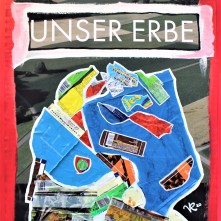 Unser Erbe (2020) Acrylbemaltes und collagiertes Kinoposter auf Holzplatte, ca. 88,5 x 64 cm. 918 - € I Ausleihe bzw. Ratenzahlung für 92,-€ pro Monat.