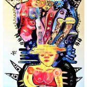 Die Klagenden (2020), Acrylfarbe auf PVC-Banner, 85 x 176 cm. 1.305 – € I Ausleihe bzw. Ratenzahlung für 130,-€ pro Monat. Bestellung via Mail: verena.kandler@t-online.de