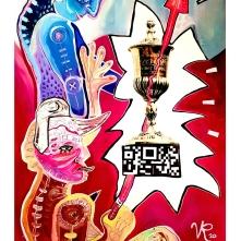 Ehrenpokal (2020), Acrylfarbe auf PVC-Banner, 75 x 120 cm. 975, – € I Ausleihe bzw. Ratenzahlung für 98,-€ pro Monat. Bestellung via Mail: verena.kandler@t-online.de