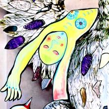 """""""Adler präsentiert Silbertablett""""(2021), Acrylfarbe und Plastikcollage auf Banner, 70 x 180 cm.1250 € I Ausleihe bzw. Ratenzahlung für 125,-€ pro Monat. Bestellung via Mail: verena.kandler@t-online.de"""