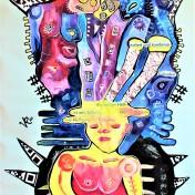 Die Klagenden (2020), Acrylfarbe auf PVC-Banner, 85 x 175 cm. 1.305 – € I Ausleihe bzw. Ratenzahlung für 130,-€ pro Monat. Bestellung via Mail: verena.kandler@t-online.de