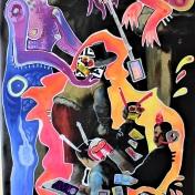 New Baroque / Zeichner in digitalen Zeiten (2021), Acrylfarbe und Plastikcollage auf PVC-Banner, 159 x 83 cm. 1.210, - € I Ausleihe bzw. Ratenzahlung für 121,-€ pro Monat. Bestellung via Mail: verena.kandler@t-online.de