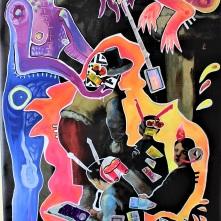 New Baroque / Zeichner in digitalen Zeiten (2021), Acrylfarbe und Plastikcollage auf PVC-Banner, 159 x 83 cm. ORIGINAL VERKAUFT! Bestellung via Mail: verena.kandler@t-online.de