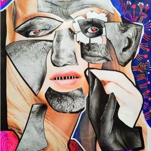 Orc (2021), Acrylfarbe und Offset-Druck Collage auf Papier, 29 x 42 cm. 497, – € I Ausleihe bzw. Ratenzahlung für 49,-€ pro Monat. Bestellung via Mail: verena.kandler@t-online.de