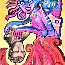 Witch burning reversed (2020), Acrylfarbe auf PVC-Banner, 75 x 120 cm. 975, – € I Ausleihe bzw. Ratenzahlung für 98,-€ pro Monat. Bestellung via Mail: verena.kandler@t-online.de