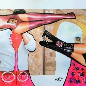 Queen Me (2021), Acrylfarbe und Offset-Druck Collage auf Papier, 29 x 42 cm. 497, – € I Ausleihe bzw. Ratenzahlung für 50,-€ pro Monat. Bestellung via Mail: verena.kandler@t-online.de
