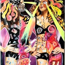 Reversed Gaze (2021), Acrylfarbe und Plastikcollage auf Papier-Poster, 120 x 170 cm. 1.740, - € I Ausleihe bzw. Ratenzahlung für 174,-€ pro Monat. Bestellung via Mail: verena.kandler@t-online.de