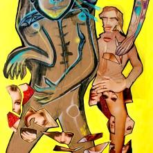 Material witch (2021), Acrylfarbe und Papiercollage auf PVC-Infotafel, 75 x 120 cm. 1.365,- € I Ausleihe bzw. Ratenzahlung für 137, -€ pro Monat. Bestellung via Mail: verena.kandler@t-online.de